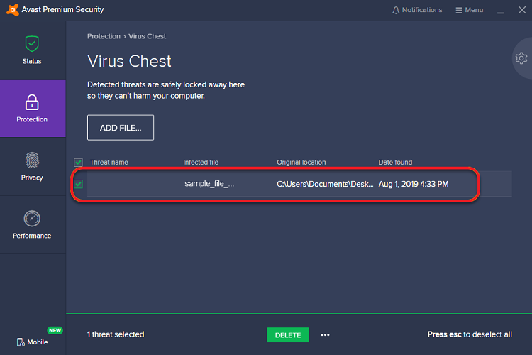 Avast Virus Chest